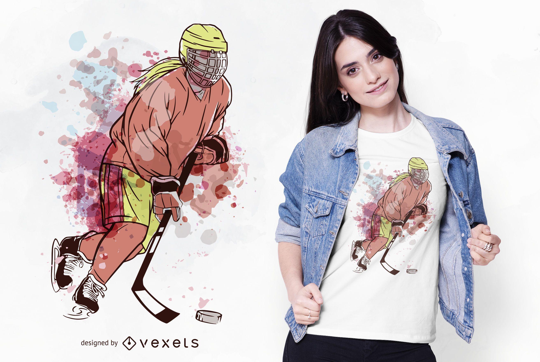 Ice Hockey Player Watercolor T-shirt Design