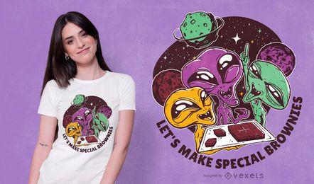 Diseño de camiseta de extraterrestres y brownies