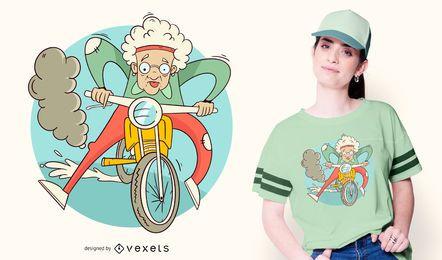 Granny Motorcycle T-shirt Design