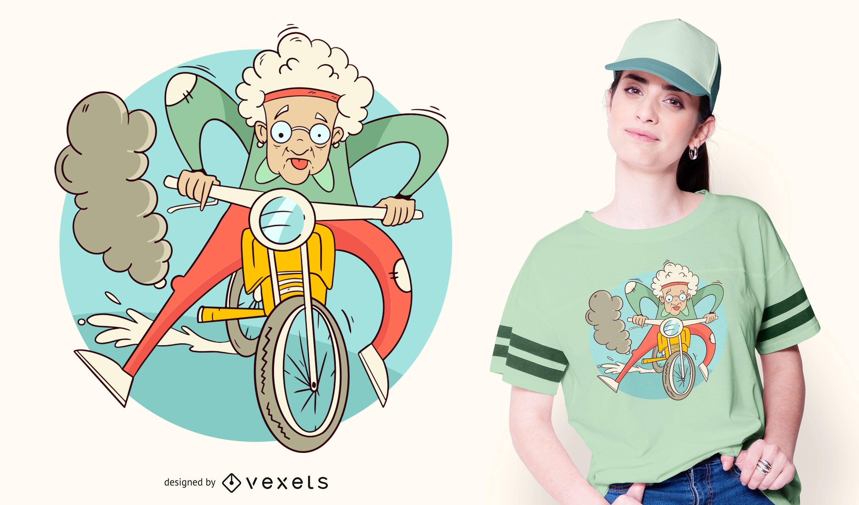Diseño de camiseta Granny Motorcycle