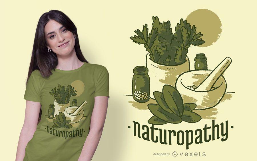 Diseño de camiseta de estilo de vida de naturopatía
