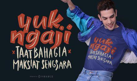 Design indonésio do t-shirt das citações