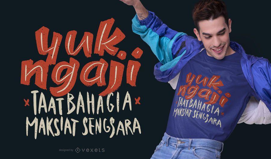 Diseño de camiseta de cita indonesia