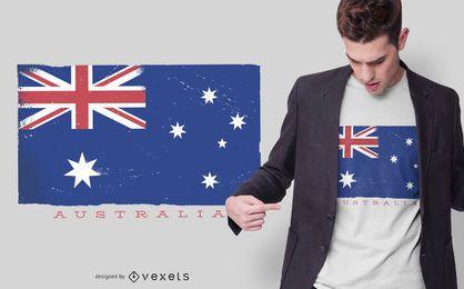 Diseño de camiseta de la bandera de Australia Grunge