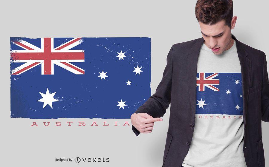 Diseño de camiseta de bandera de Australia Grunge