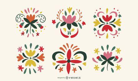 Paquete de ilustraciones de flores coloridas
