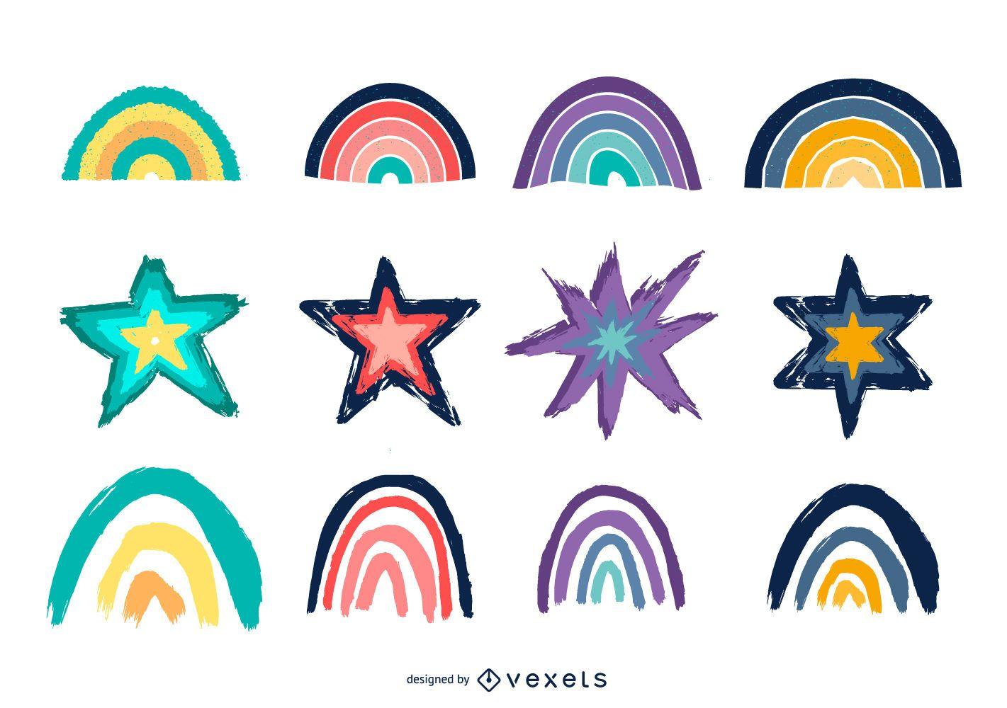 Paquete ilustrado de diseño de arco iris y estrellas