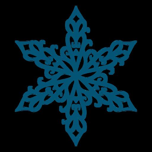 Artistic swirls snowflake element Transparent PNG