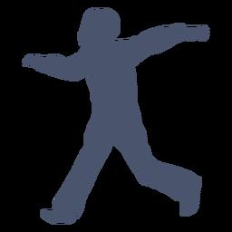 Boy bowling pose silhouette