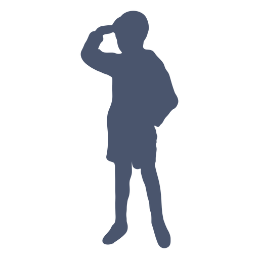Boy looking into the distance silhouette