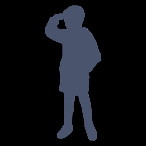 Niño mirando a la distancia silueta