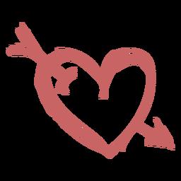 Corazón cepillado con flecha