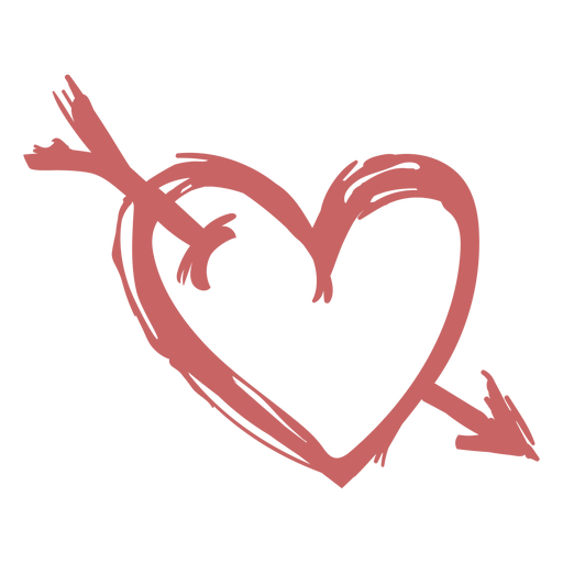 Brushed heart with arrow Transparent PNG