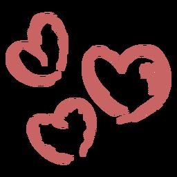 Elemento de corazones cepillados