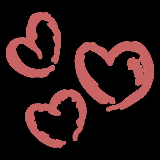 Elemento de corazones cepillados Transparent PNG