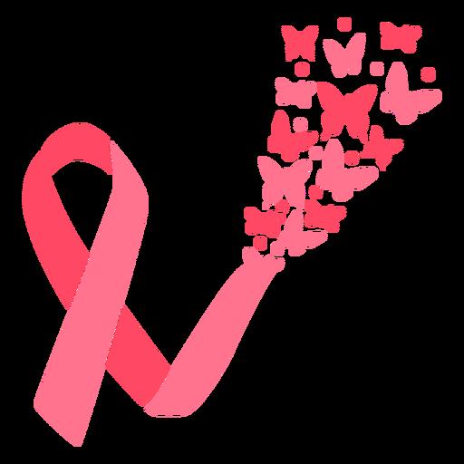 Borboleta estourando fita de câncer de mama