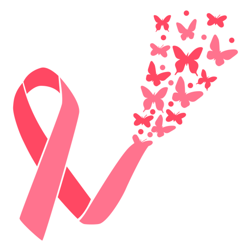 Butterfly burst breast cancer ribbon Transparent PNG