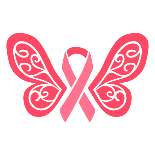 Butterfly wings breast cancer ribbon Transparent PNG