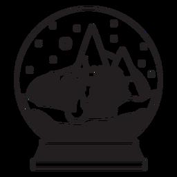 Curso de globo de neve de cena de árvore de Natal