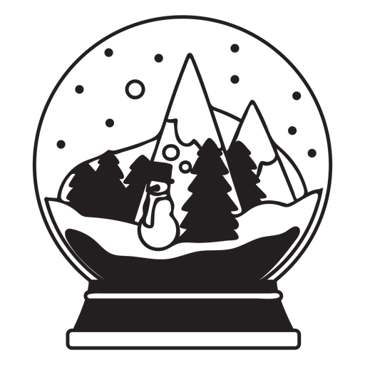 Christmas tree scene snow globe stroke