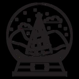 Curso de globo de neve de árvore de Natal