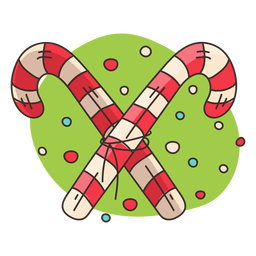 Crossed candy canes cartoon