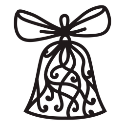 Decorated christmas bell silhouette