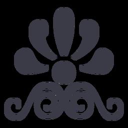 Silhueta de ornamento floral decorativo