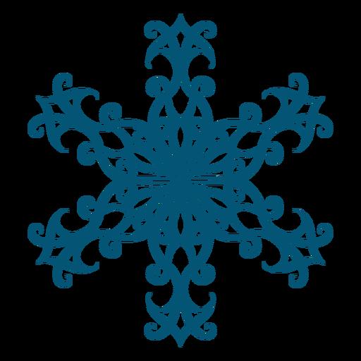 Elegant swirl snowflake element Transparent PNG