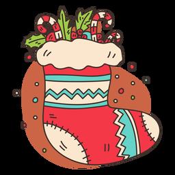 Filled christmas stocking cartoon