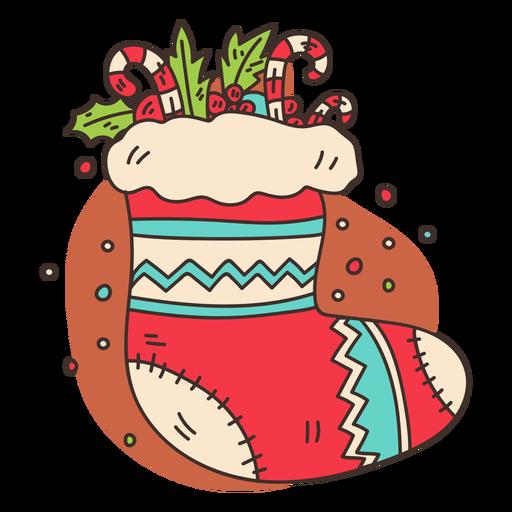 Filled christmas stocking cartoon Transparent PNG