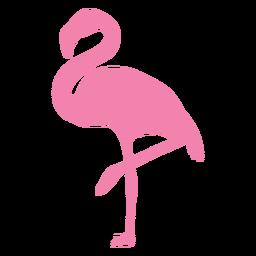 Flamingo na silhueta de um pé