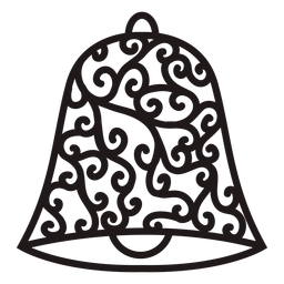 Floral swirls christmas bell silhouette
