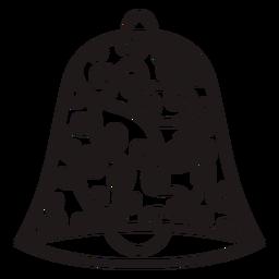 Silueta de campana de navidad remolinos florales