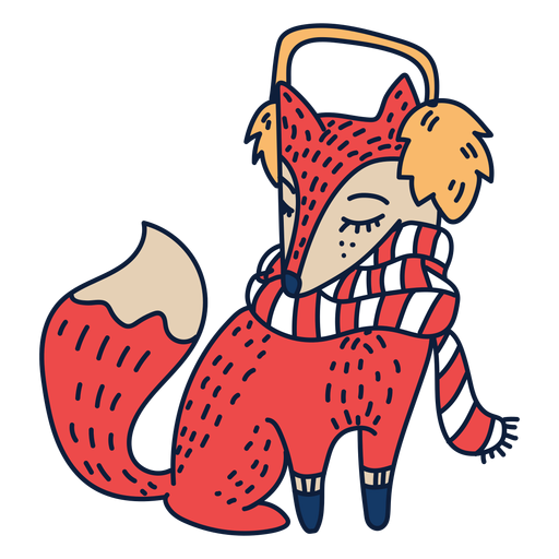 Fox with scarf cartoon Transparent PNG