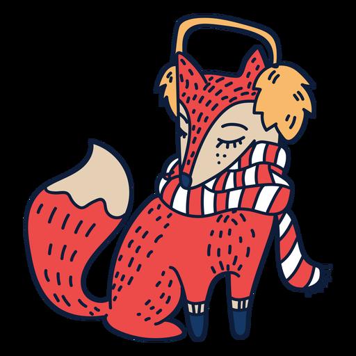 Fox with scarf cartoon