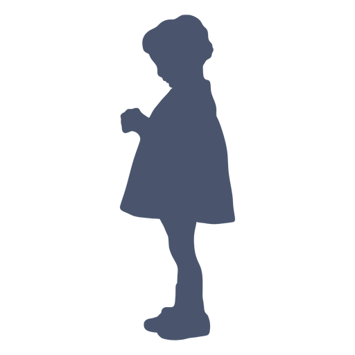 Girl holding toy silhouette
