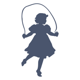 Girl rope jumping silhouette