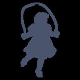 Silueta de niña saltando a la cuerda