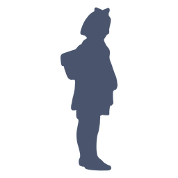 Girl with backpack silhouette