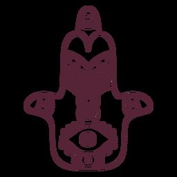 Hamsa indian hand symbol line