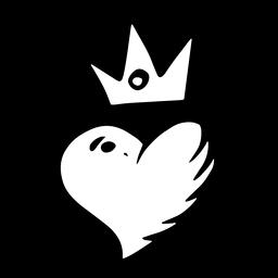 Coração com silhueta de coroa