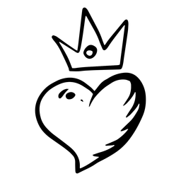 Heart with crown silhouette