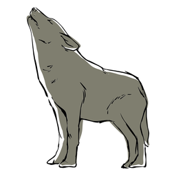 Desenho de lobo uivante