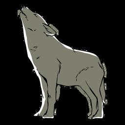 Dibujo de lobo aullando