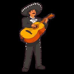 Dibujos animados de guitarrista de mariachi