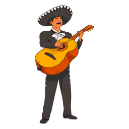 Mariachi guitar player cartoon