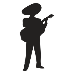 Mariachi guitar player silhouette