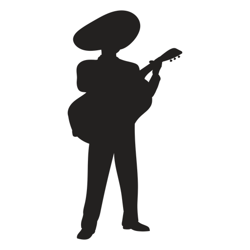 Mariachi guitar player silhouette Transparent PNG