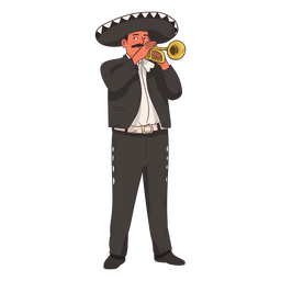 Desenho de jogador de trompete Mariachi